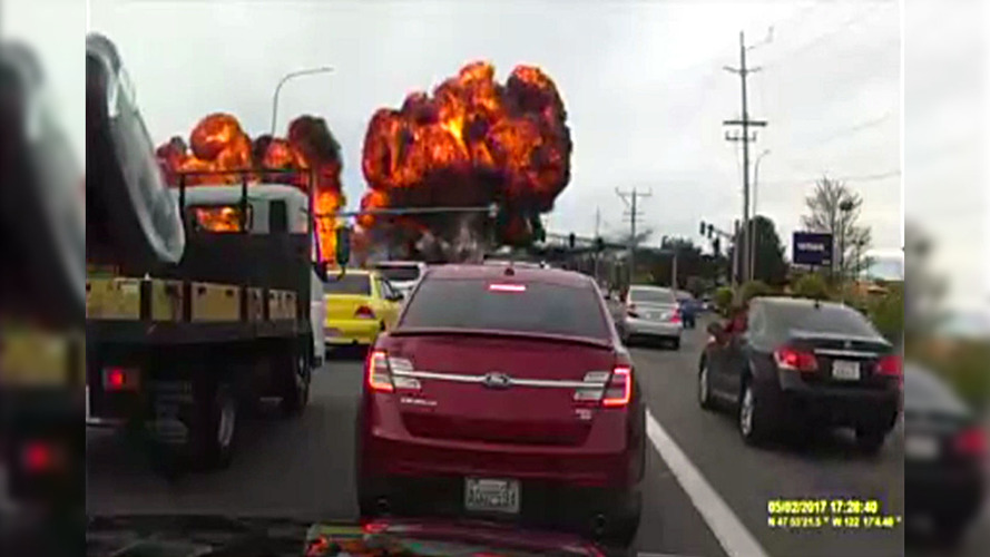 Fiery Plane Crash On Road Captured On Dash Cam Video