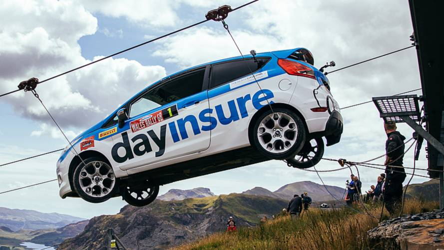 See Ford Fiesta Rally Car Hurtle Down A Zip Line In Wales