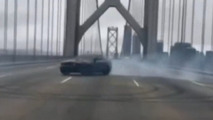 Ford Mustang doing donuts on the Bay Bridge