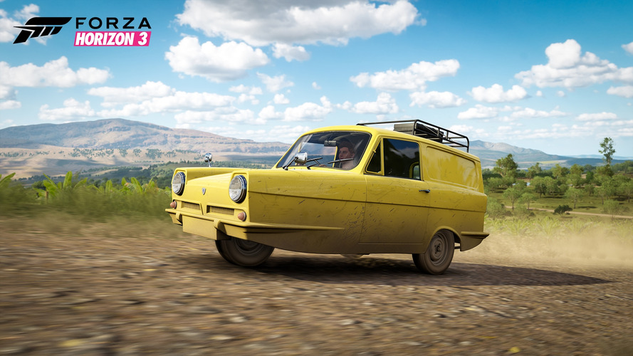 Drive a three-wheel Reliant Supervan III in Forza Horizon 3