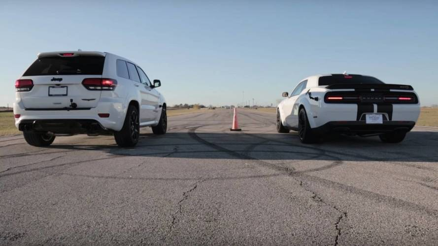 Jeep Trackhawk Thrashes Widebody Challenger In Drag Race