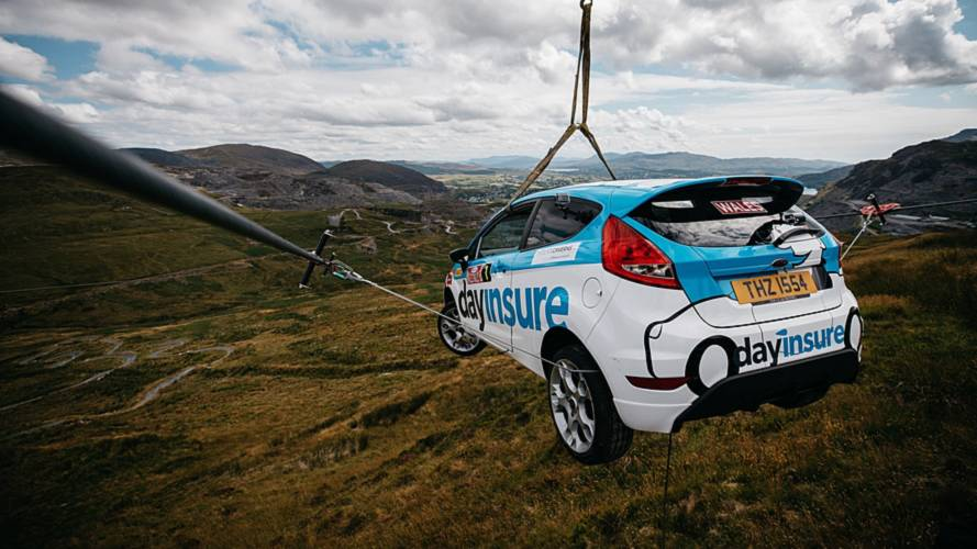 This Is How You Put A Ford Fiesta On A Zip Line