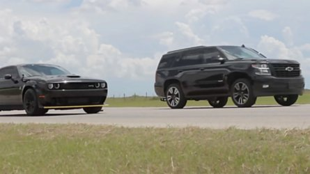 See 805-HP Tahoe RST Drag Race 707-HP Hellcat Challenger Widebody