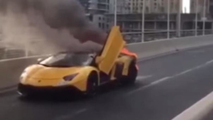 Lamborghini Aventador Roadster bursts into flames in Dubai [video]
