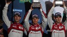 Podium- second place Lucas di Grassi, Loic Duval, Oliver Jarvis, Audi Sport Team Joest