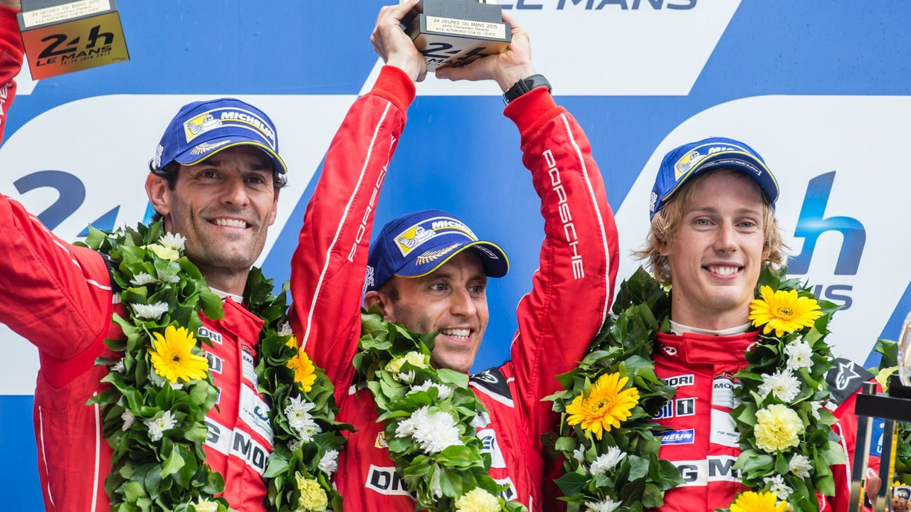 Mark Webber podium Le Mans 2015