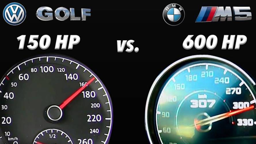David fights Goliath in acceleration test: VW Golf vs new BMW M5