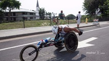 Alex Zanardi competes in the Hawaii Ironman triathlon
