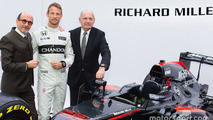 Jenson Button, McLaren, Ron Dennis, président McLaren Technology Group et PDG avec Richard Mille, PDG Richard Mille