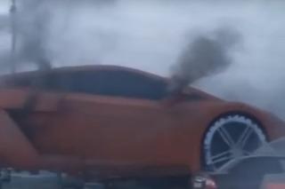 Watch a Giant Lamborghini Sculpture Catch Fire