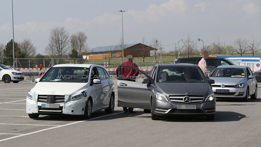 2015 Mercedes B-Class spied next to the current model