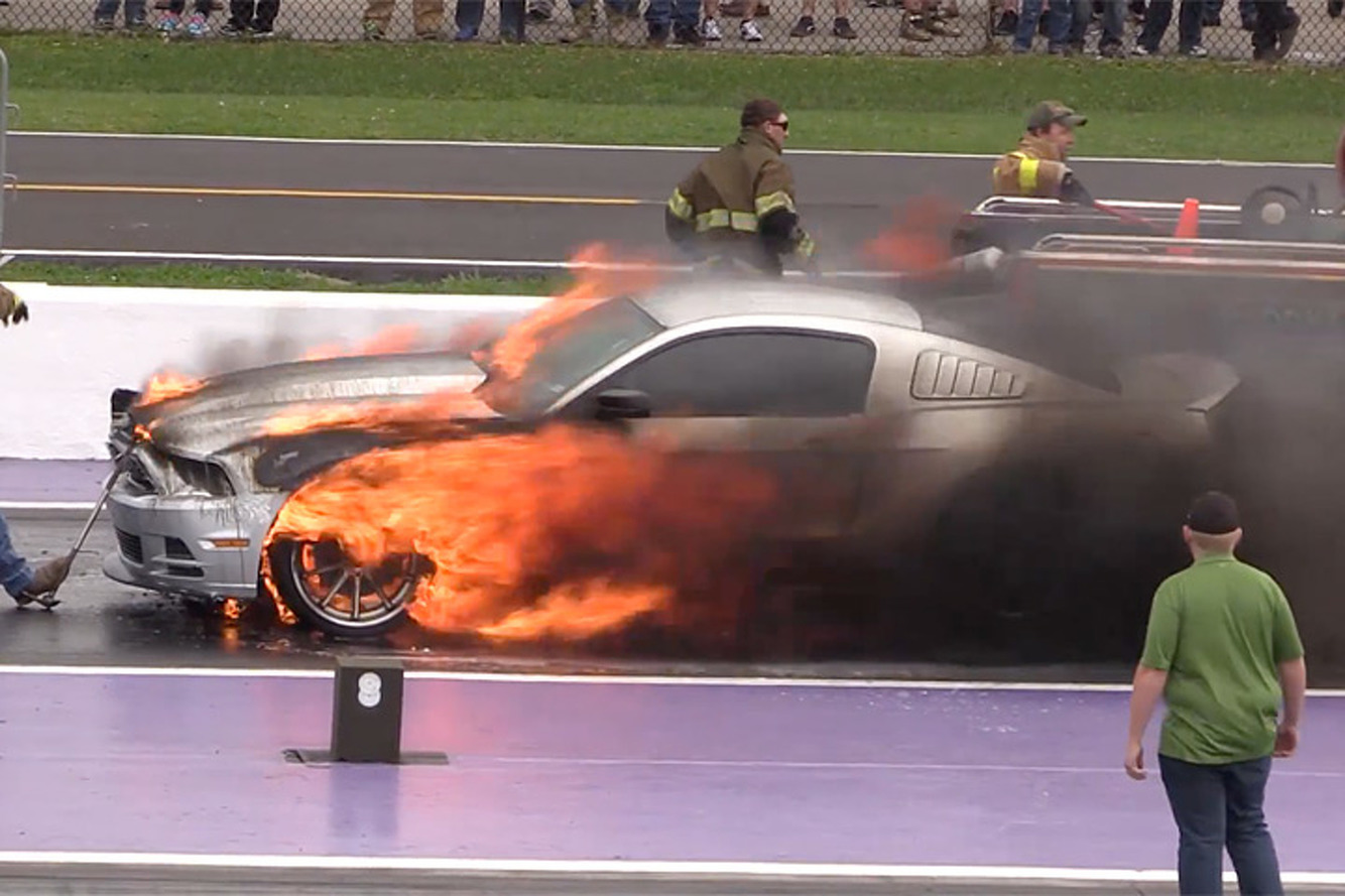 A Ford Mustang Went Up in Flames at the TX2K16 Drag Race