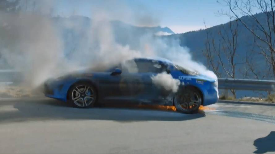 alpine  catch fire  top gear filming