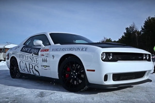 Watch a Dodge Challenger Hellcat Set a New World Speed Record...On Ice