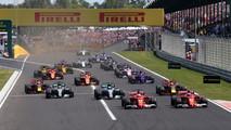Sebastian Vettel, Ferrari SF70-H leads Kimi Raikkonen, Ferrari SF70-H at the start of the race
