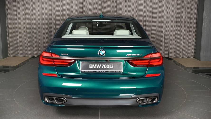 BMW M760Li in Boston Green