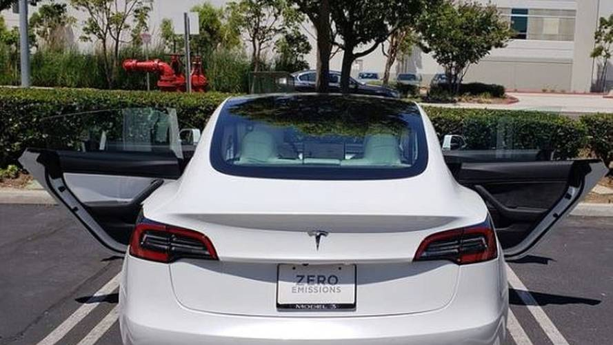 This All-White Tesla Model 3 Came With One Brown Door Panel