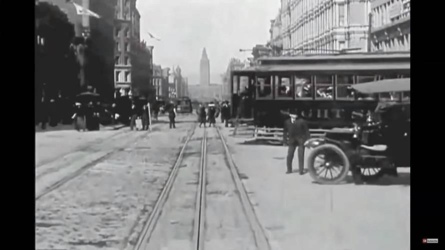Fedélzeti kamerás felvétel az 1900-as évek elejéről – akkoriban kicsit más volt a közlekedés