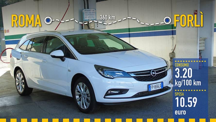 Opel Astra Sports Tourer a metano, la prova dei consumi reali