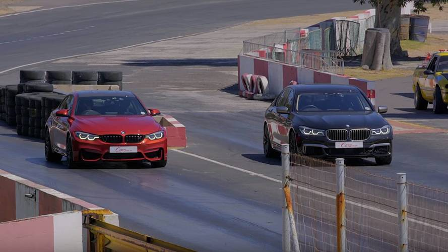 BMW M760Li Fights Off BMW M4 Coupe In Drag Race