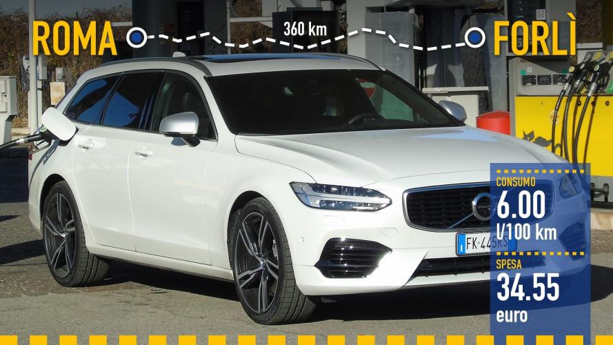 Volvo V90 T8, la prova dei consumi reali
