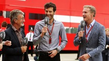 (L to R)- Eddie Jordan with Mark Webber, Porsche Team WEC Driver - Channel 4 Presenter and David Coulthard, Red Bull Racing and Scuderia Toro Advisor - Channel 4 F1 Commentator