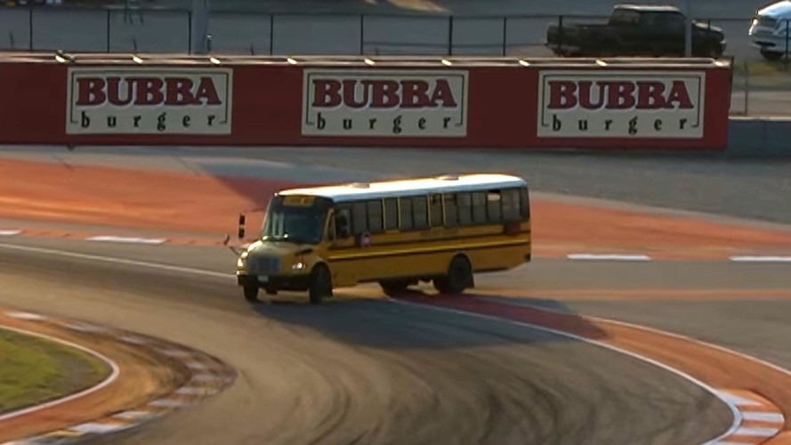School Bus Thinks It's A Race Car, Enters Track During F4 Race