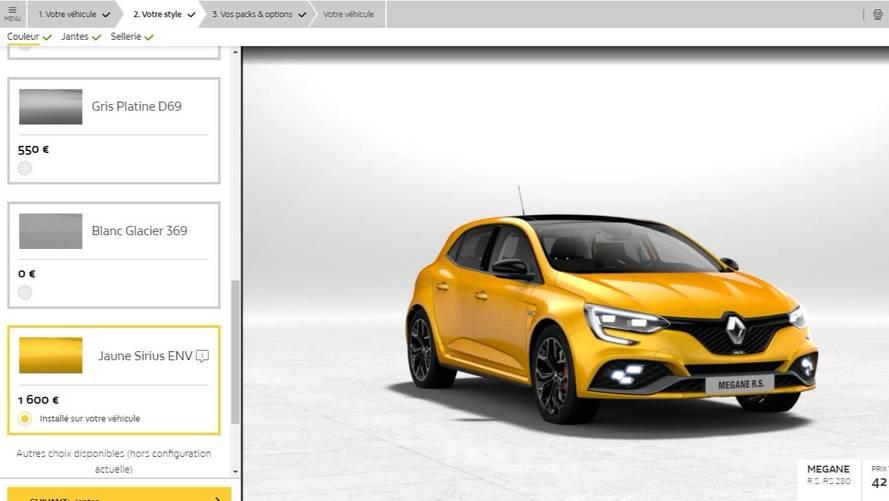 Le configurateur (et le prix !) de la Renault Mégane 4 RS est en ligne !
