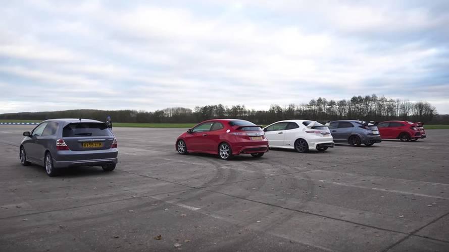 Cuatro generaciones del Honda Civic Type R, enfrentadas. ¿Cuál ganará?