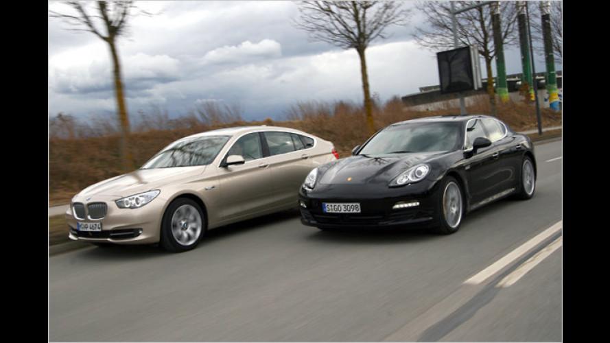 Starker Fond: BMW 5er GT vs. Porsche Panamera S