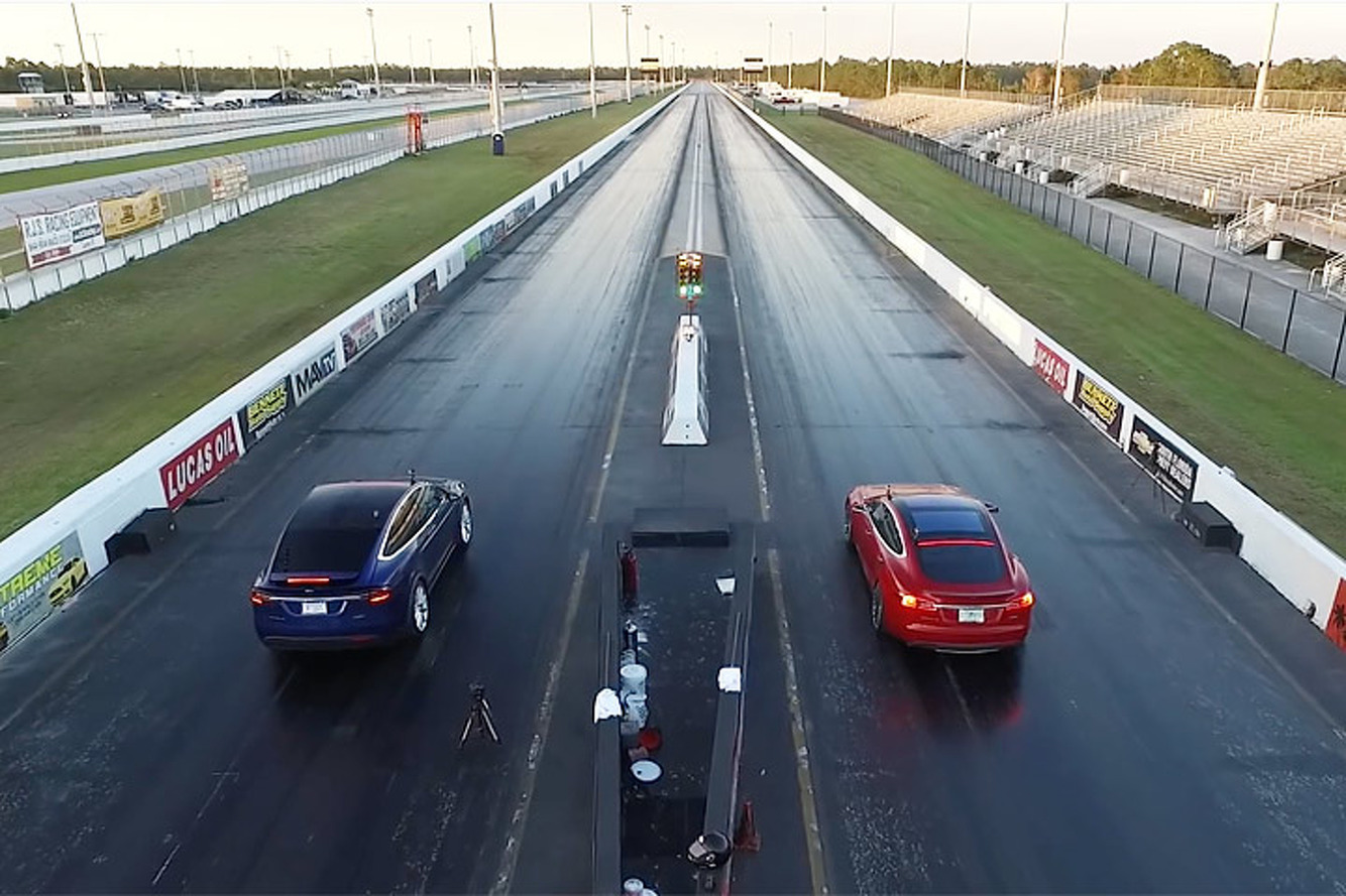 Watch a Tesla Model X P90D Drag Race a Model S P90D