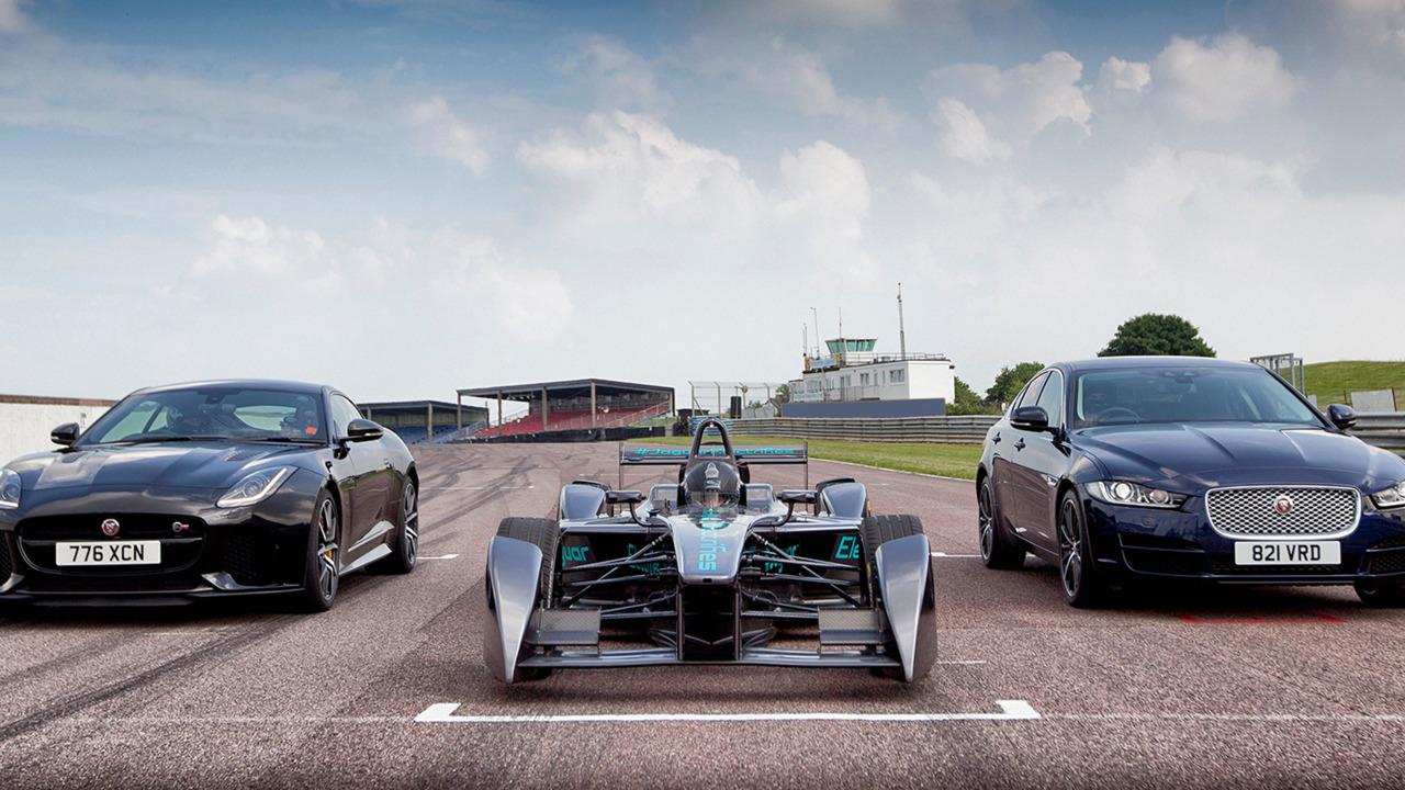 Jaguar Formula E, XE and F-Type SVR at Mallory Park
