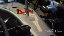 The damaged nose of the Mercedes AMG F1 W07 Hybrid of Lewis Hamilton