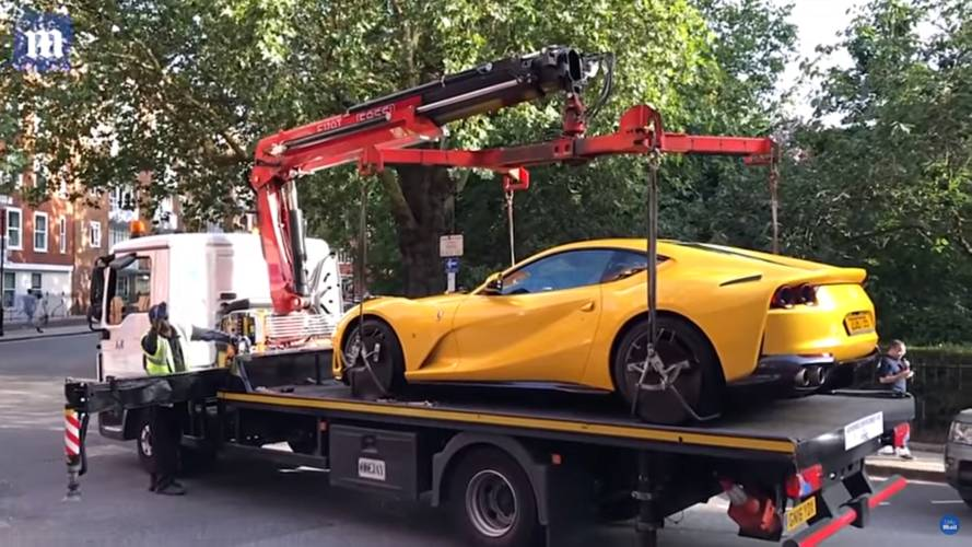 See Karma In Action As Illegally Parked Ferrari Gets Towed