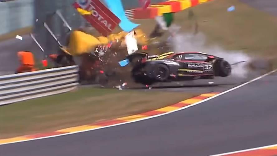 Spa'da yapılan Lamborghini Super Trofeo yarışında büyük kaza