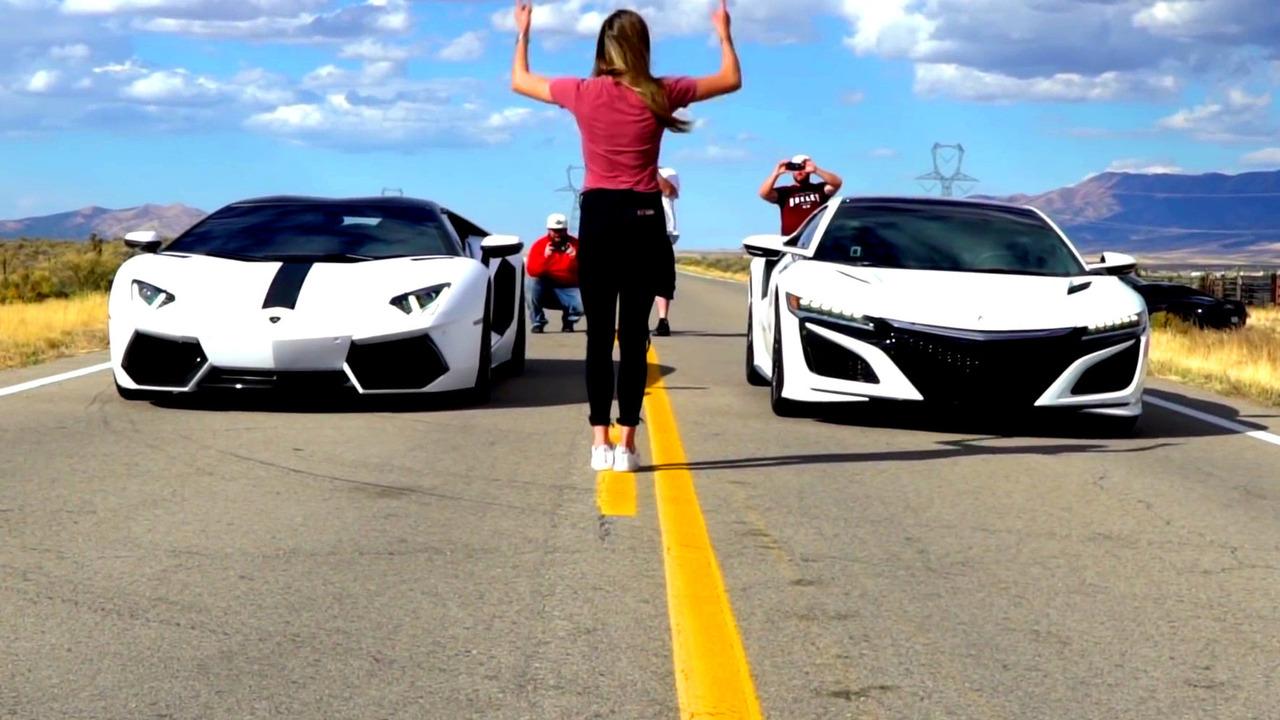 NSX versus Aventador race