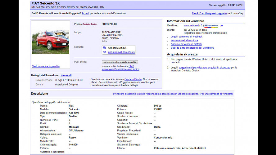 Su eBay una sezione specifica per l'auto a metano