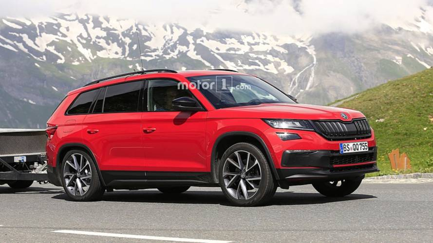 2019 skoda kodiaq rs spied for the first time teased yet again. Black Bedroom Furniture Sets. Home Design Ideas