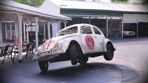 Herbie, the'64 VW Beetle, with a stunt rig for wheelies