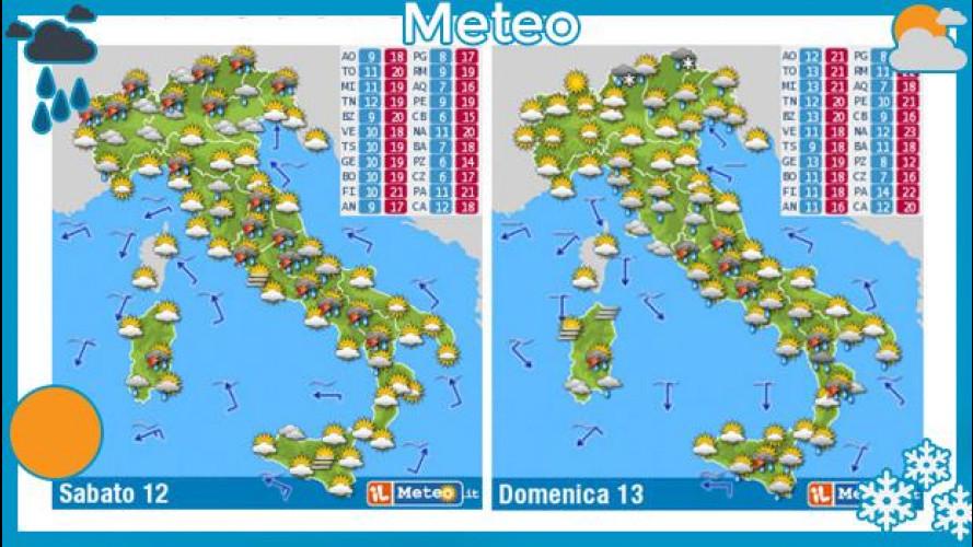Previsioni meteo 12 e 13 aprile: ancora pioggia e pneumatici invernali