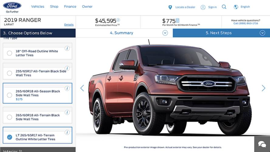 2019 Ford Ranger Configurator Secretly Goes Online [UPDATE]