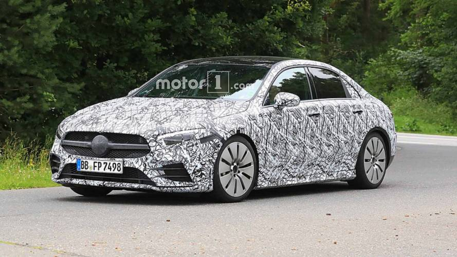 Mercedes-AMG A35 saloon spied keeping its camouflage at the 'Ring