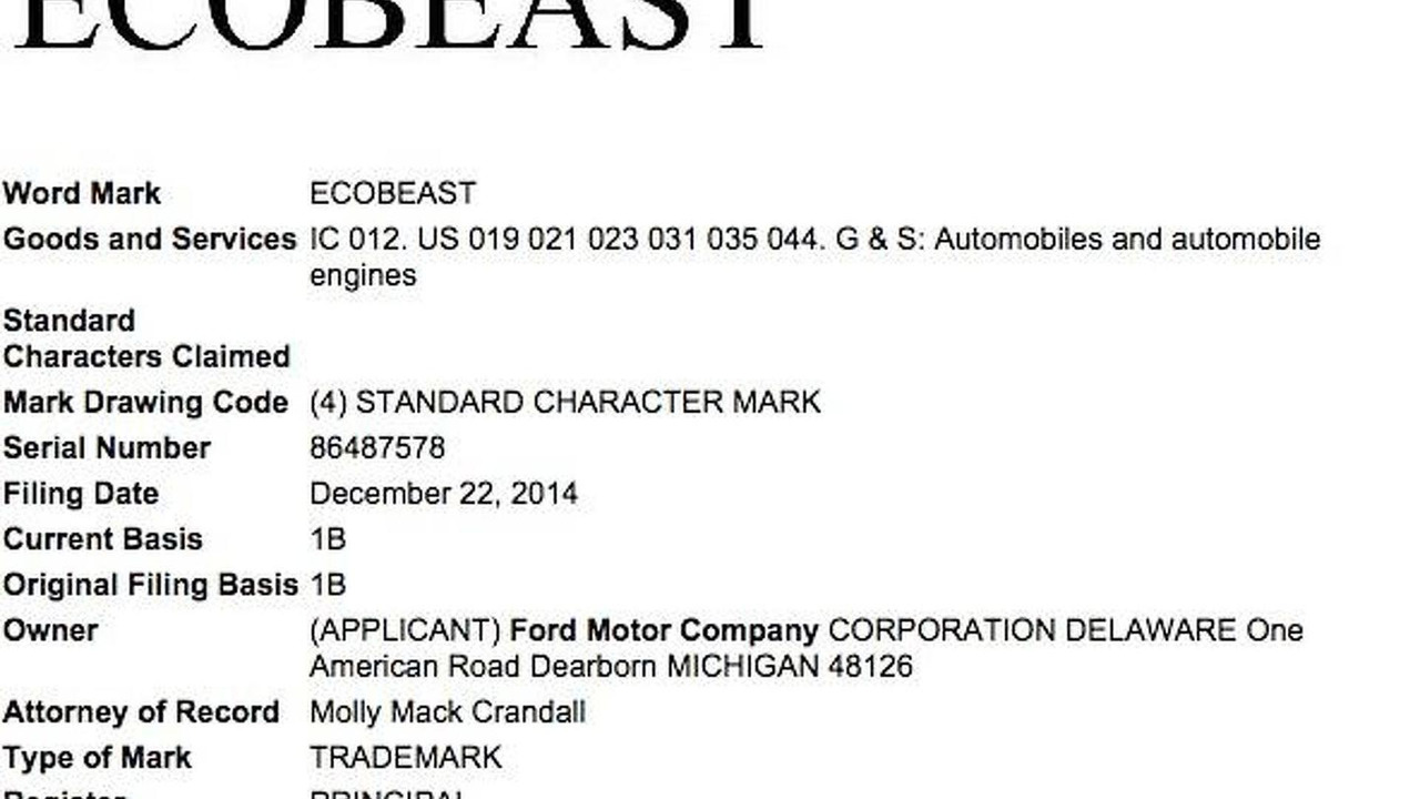 Ford EcoBeast trademark application