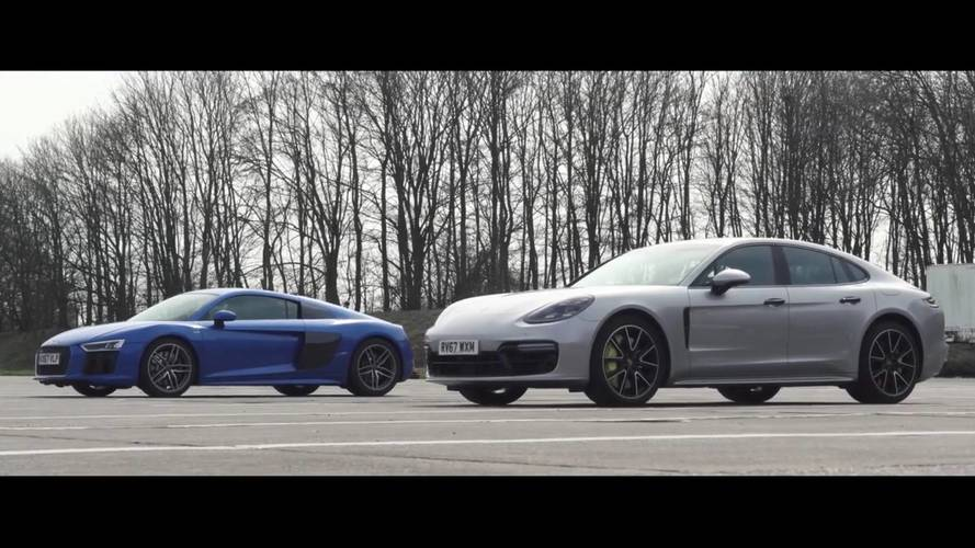 Porsche Panamera Turbo S E-Hybrid Fights Off Audi R8 In Drag Race