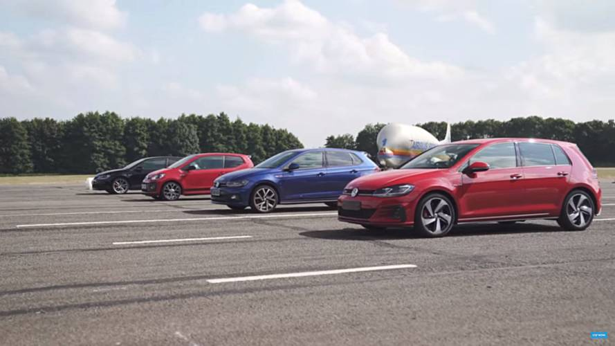 VW GTI Showdown: Golf, Polo And Up! Battle In Hot Hatch Drag Race