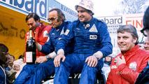 Podium- race winners Timo Makinen, Henry Liddon, second place Roger Clark, Tony Mason