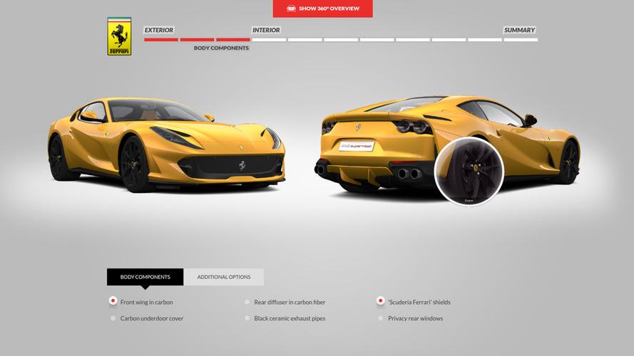 Imagina que eres rico con el configurador del Ferrari 812 Superfast