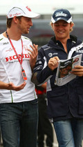 Jenson Button (GBR), Honda Racing F1 Team and Nico Rosberg (GER), WilliamsF1 Team, German Grand Prix, Friday, 18.07.2008 Hockenheim, Germany