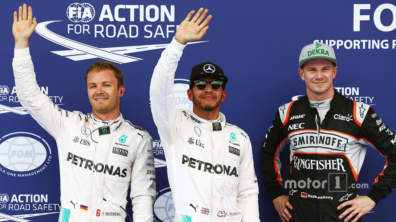 Polesitter Lewis Hamilton, Mercedes AMG F1 Team, second place Nico Rosberg, Mercedes AMG F1 Team, third place Nico Hulkenberg, Sahara Force India