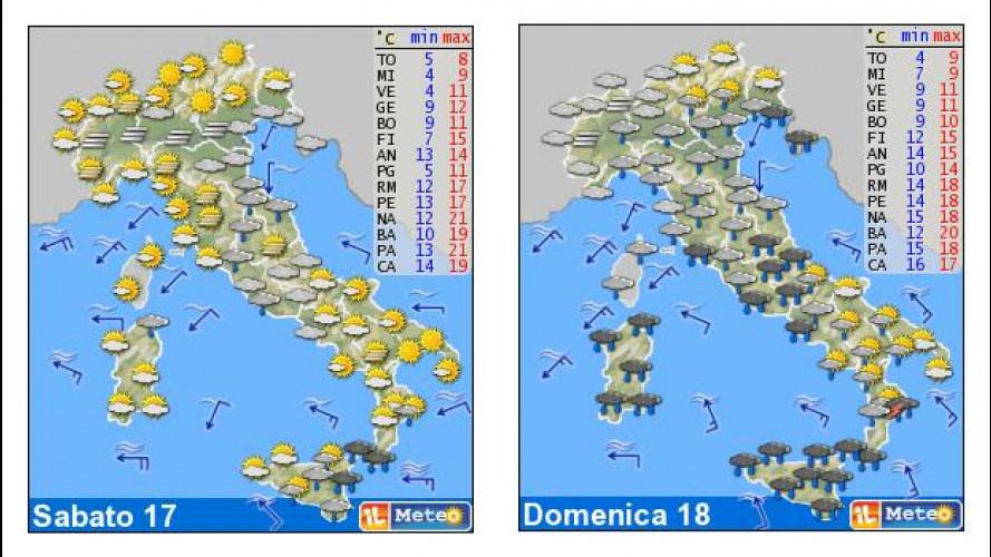 Il meteo del weekend 17-18 novembre: pioggia anche al Sud